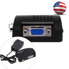 Composite TV BNC S-video to VGA Video Converter Adapter For DVR US Plug Black