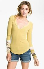 EUC Free People Kombucha Cuff Waffle Thermal Top Shirt Small Lemongrass Yellow