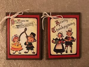 5 WOODEN Handcrafted Thanksgiving Ornaments/FALL Hang Tags SetJ2