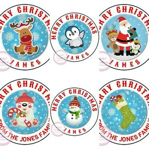Personalised Christmas Stickers Father Xmas Santa Labels Tags Sweet Cones Hamper