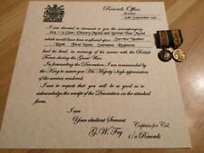 WWI British War Medal and Victory Medal Certificate - custom replica scroll