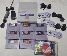 SUPER NINTENDO SNES CONSOLE LOT BUNDLE 3 CONTROLLER AND 9 GAMES!