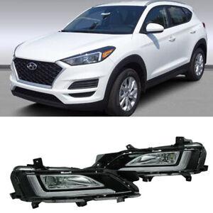 For Hyundai Tucson 2019-2020 Pair LED Daytime Running Fog Light Front Bumper DRL