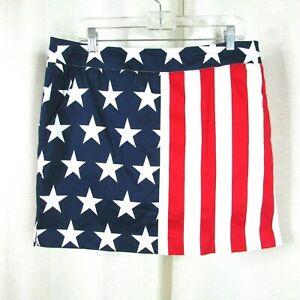 Loudmouth Ladies Old Glory Golf Skort Size 12 Stretch Pockets Stars Stripes Flag