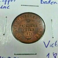 Baden 1871 1 Kreuzer Unc Red Coin Germany Victory Over France Rare Grade Luster