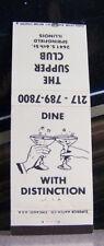 Rare Vintage Matchbook Cover B2 Springfield Illinois Supper Club Distinction