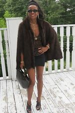 Mint Designer Sable brown knitted hooded mink Fur Cape shawl for coat Jacket S-M