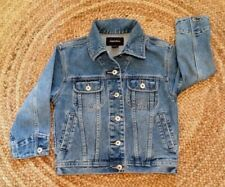 Girls Youth Sz Small EXHILARATION Jean Jacket Blue Denim Distressed Med Wash