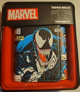 New Marvel Comics Venom Spiderman Trifold Wallet In Collectable Gift Box