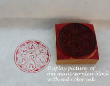 Om Mani Padme Hum Circle Mini Wooden Block Print-For Signatures, Stamping etc