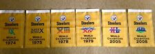 """PIttsburgh Steelers NFL Super Bowl Champions 6 Banners/Flags 18.5"""" x 11.5"""""""