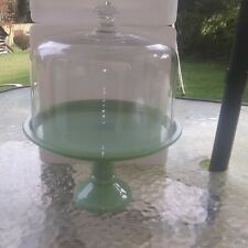 Pioneer Woman TIMELESS BEAUTY JADEITE  Cake Stand Glass Cover NEW NO OUTER BOX