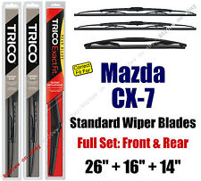 Wiper Blades 3pk Front Rear Standard - fit 2007-2012 Mazda CX-7 - 30260/160/14A