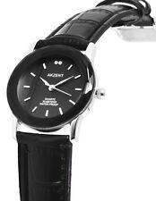 Damen Armbanduhr Schwarz Crystalbesatz Kunstleder-Armband 3 ATM von AKZENT