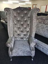 Chesterfield Highback Queen Anne Chair with Diamontes in Grey