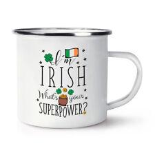 Estoy irlandés? cuál es su superpotencia Bandera Retro Esmalte Taza Taza-Rugby Irlanda