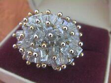 UNIQUE Domed Vtg Faceted Crystal Glass Bead Adjustable Ring Japan