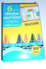 6 X Jumbo Lavable Crayons Fenêtre Verre Enfants Activité non Toxique Jeu