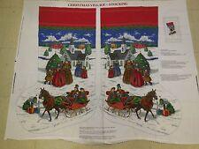 Vintage Jumbo Large Christmas Stocking Snow Village Craft Panel
