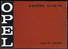 LIBRETTO USO E MANUTENZIONE - OPEL ASCONA 12/16/19 - 1974 [*RL1]