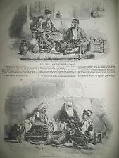 TURQUIE CONSTANTINOPLE CAFé ET ECRIVAIN TURC PECHEURS TEMPETE GRAVURES 1859