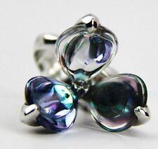 Fleurs De Psydelic Dawn 53 SIZE 6.5 BACCARAT 3Petal BLUE Crystal Silver RING MIB