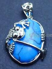 SALE Big 25*20mm Oval Blue Turquoise with crawl Frog design Pendant-pen251