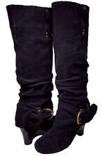 NAUGHTY MONKEY Black Suede Knee High Wedge Heel Boots Womens Size 6