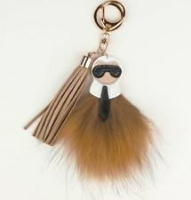 Genuine Beige Mustard Fur Key Chain Ring Bag Charm Karlito Monster Karl Doll Pom