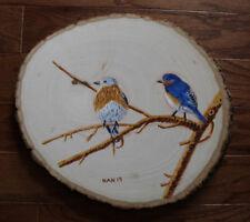 Blue Bird 4, Wild Life, Nature, Original Acrylic Painting on Wood, Signed, Art