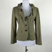 Moschino Cheap and Chic Brown Plaid Fitted Blazer Ruffled Collar Wool Blend Sz 8