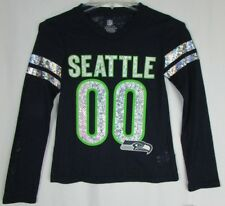 Seattle Seahawks Girl's S M L XL #00 Long Sleeve Reflective Shirt NFL Navy A15