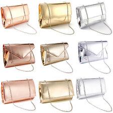 Women's Enveloped Handbag Metallic Prom Party Clutch Bag Rose Gold Silver Colour