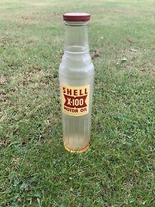 Vintage Shell X-100 Oil bottle correct lid excellent condition Pourer Sign Can