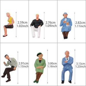 P4802 24 pcs All Seated Figures O scale 1:50 Painted People Model Railway NEW