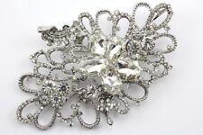 Vibrant Bridal Wedding Brooch Pin Clear Fancy Austrian Rhinestone Crystal