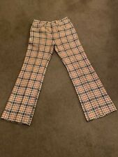 Vtg 70s Haggar Mens 28x30 Tan Burgundy Green Cream Plaid Disco Leisure Slacks