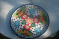 3 hand made folk art, Mexican Plates, unique, colorful, Mexico