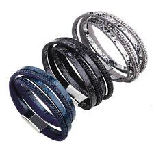 New Wrap-Around Multi-strand PU leather Sparkle Faux Snake Bracelet Magnet Clasp
