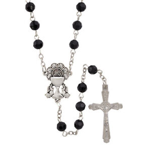 First Communion Rosary Black Faceted 6mm Beads