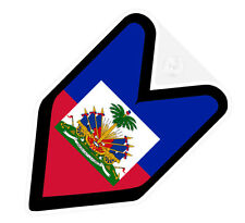 ## JDM WAKABA BADGE HAITI HAITIAN Car Decal Flag not vinyl sticker ##