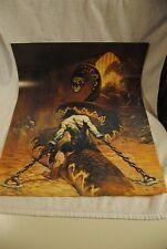 "VINTAGE ""Chained"" Frank Frazetta Giant Snake 17 x 17 ½"" x 23 ¼"" 1974 Print Poste"