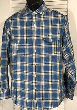 Brooks Brothers Irish Linen Shirt Mens M Blue Plaid LS Roll Tab Sleeve Epaulette
