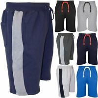 Mens Side Contrast Panel Jogging Sweat Running Summer Gym Fleece Bottoms Shorts