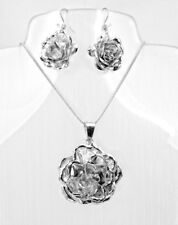 Artisan Silver Romantic Gothic Rose Flower Pendant and Earring Set from Taxco