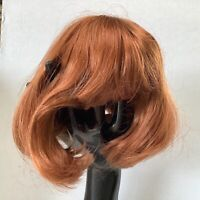 Hand Styled Doll Wig by Global Dolls Asia 11-12 Thick Carrot Red Hair Bangs NOS