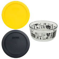 Pyrex 7201 4 Cup Football Glass Dish and 7201-PC (1) Black (1) Yellow Lids
