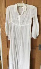 Vintage Laura Ashley White CottonRegency style Maxi Dress 1970's Size 12