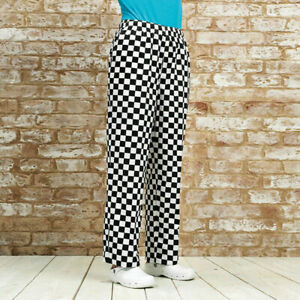 Chefs Trousers Black/White Check Unisex Work Wear Poly Cotton Pants Chessboard