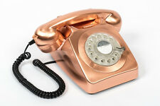 GPO 746 Metallic Bronze Retro Vintage Style Desk Phone with Working Rotary Dial